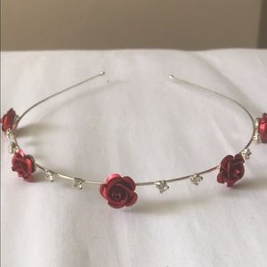 Rose and fake diamond headband/decor